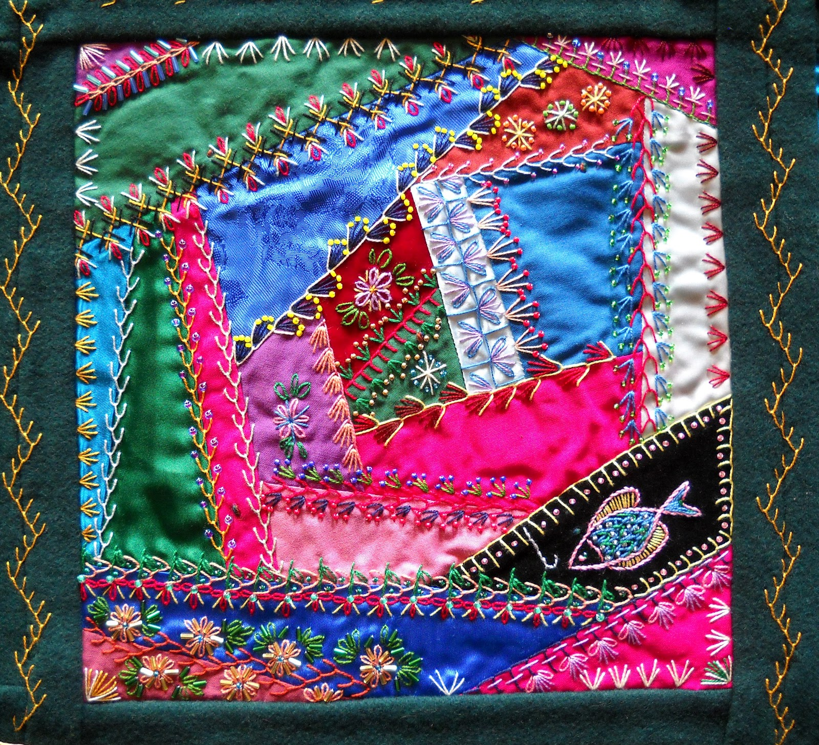 Crazy Quilt Pattern Fabric : Julies Creative Ideas: Victorian Crazy Quilt - Summer Afternoon Fishing
