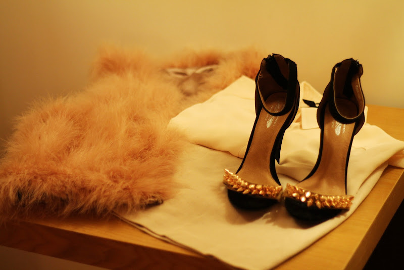 christmas eve outfit with feather pink vest and jeffrey campbell shoes