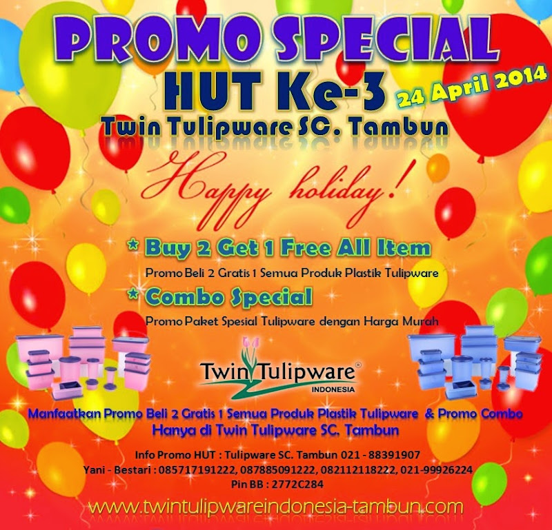 Promo Spesial HUT Twin Tulipware 2014, 2 Free 1 All Item, Promo Combo
