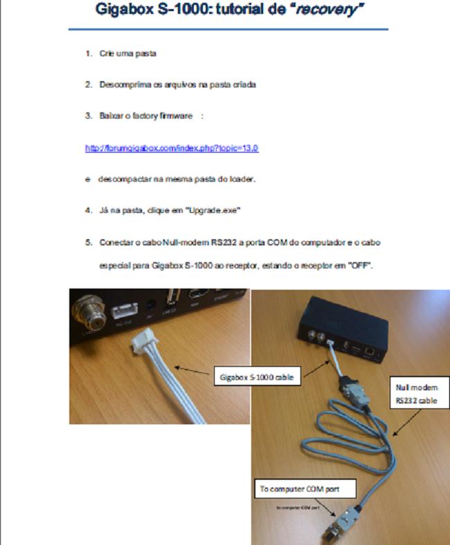 Tutorial com fotos e arquivo para recovery no Gigabox S1000