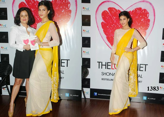 1383 -  Georgette half and half saree At launch of book The Love Diet in Mumbai