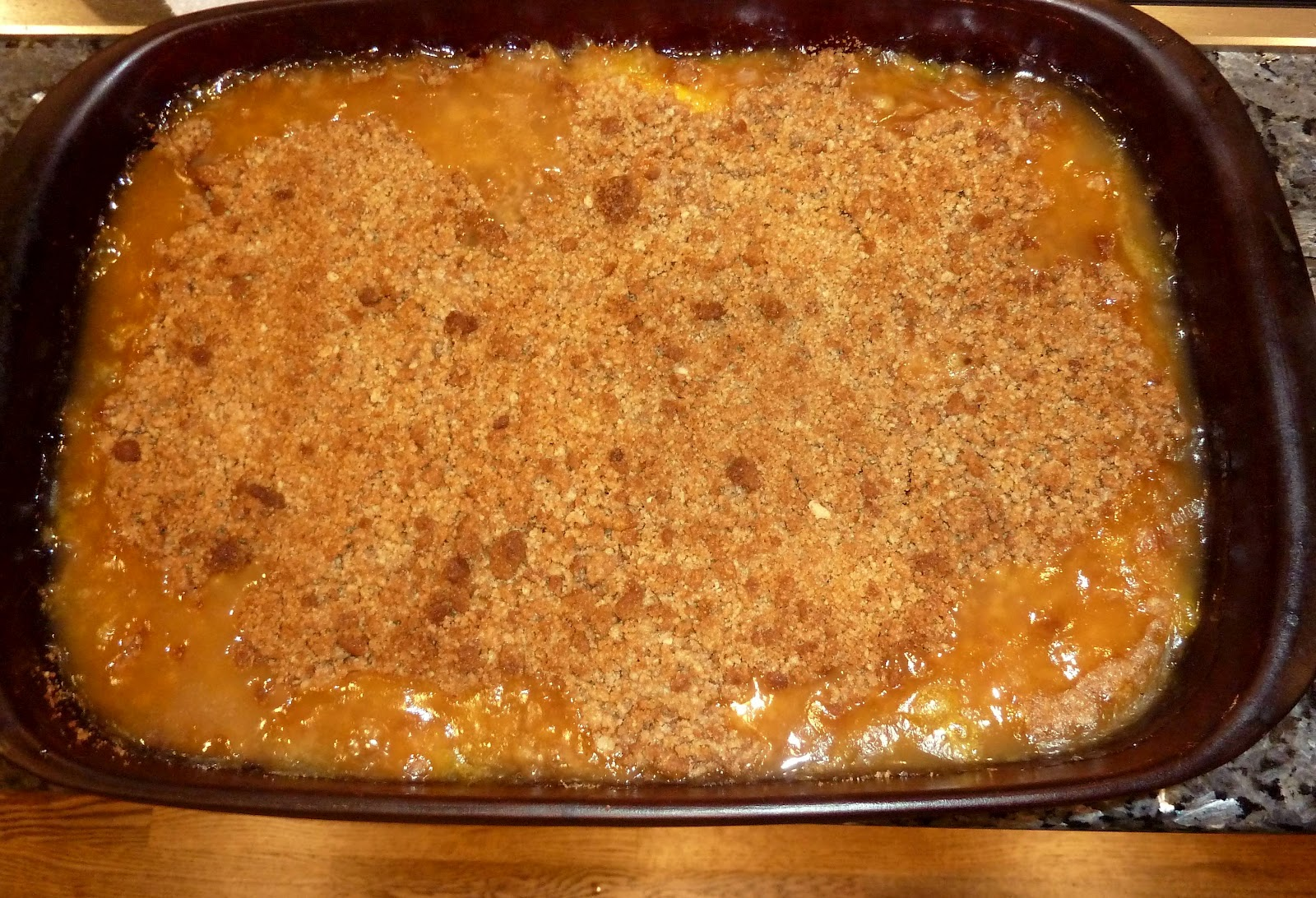 Dinner with Denise: Peach Crisp with Ginger Snap Topping