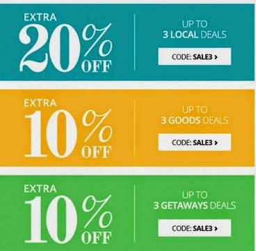 Groupon Save Extra 20% Off 3 Local Deals, 10% off Goods & Getaways Deals Promo Code