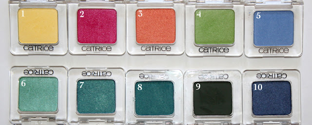 Catrice Eyeshadows Eyeshadow Mono  John Lemon, Pink Rock Super Star, Dalai Drama, Kiwi Wonder, Bonnie & Cloud, In Love With Hulk, Vanessa's Paradise, Petrol Keeps Me Running, Hip Hop On the Tree Top, Top of the Cops