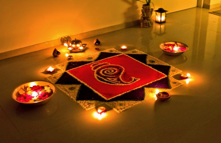 Rangoli Designs and Patterns with Lamps for Diwali 5