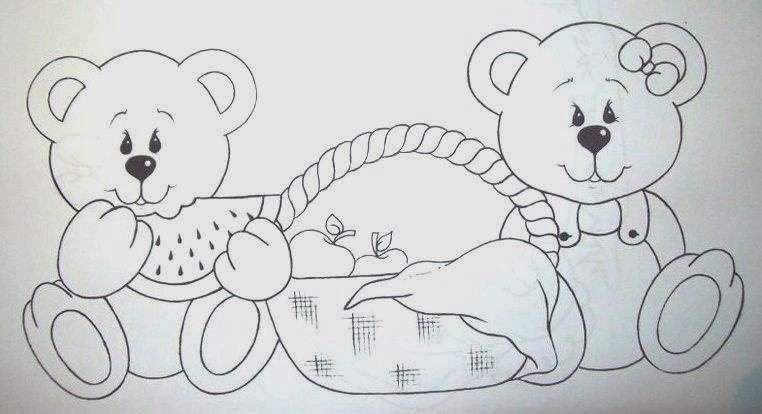 desenhos de casal de ursinhos com cesta de piquinique