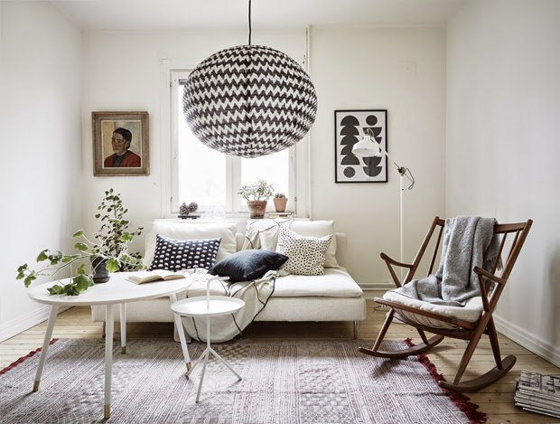 small black and white interior