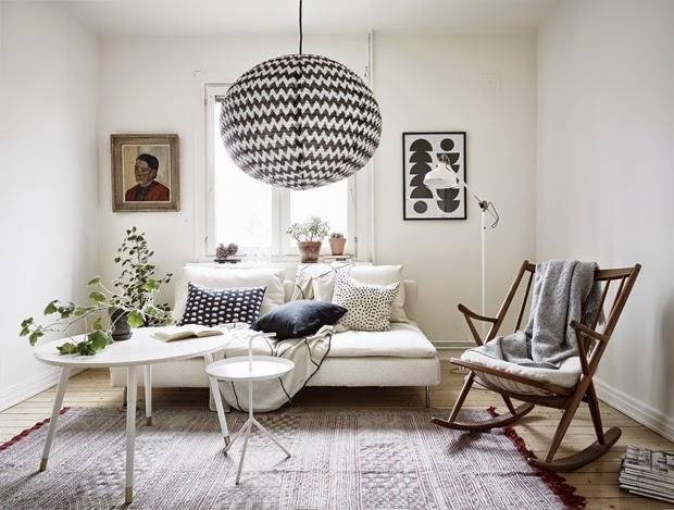 small black and white interior