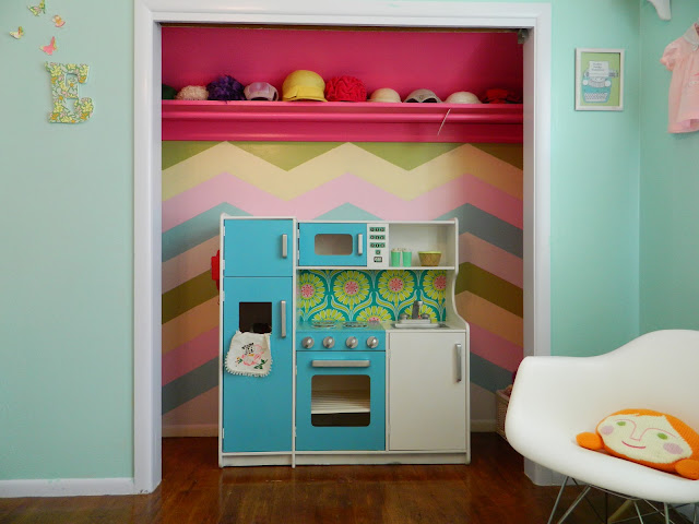 DIY play kitchen Painted chevron wall eames rocker blabla pillow vintage typewriter hats Just Peachy, Darling