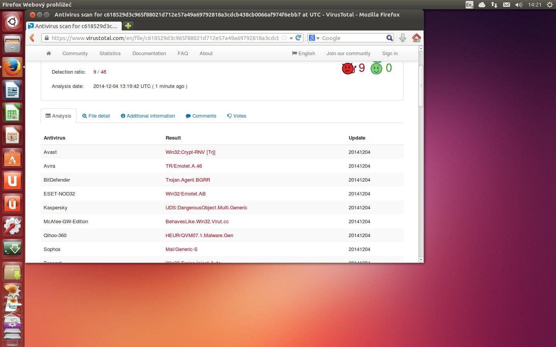 Test exe súboru na Virustotal