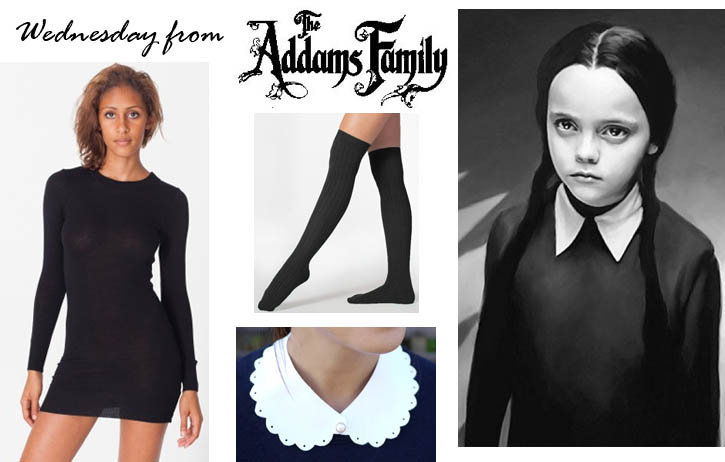 all you need to create this costume is a black long sleeve dress and knee socks the felt collar is easily made using this diy tutorial - Halloween Costumes With A Black Dress