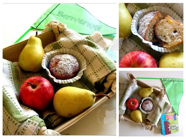 la merenda per la ricreazione: muffin con mele pere e uvetta senza latte e derivati