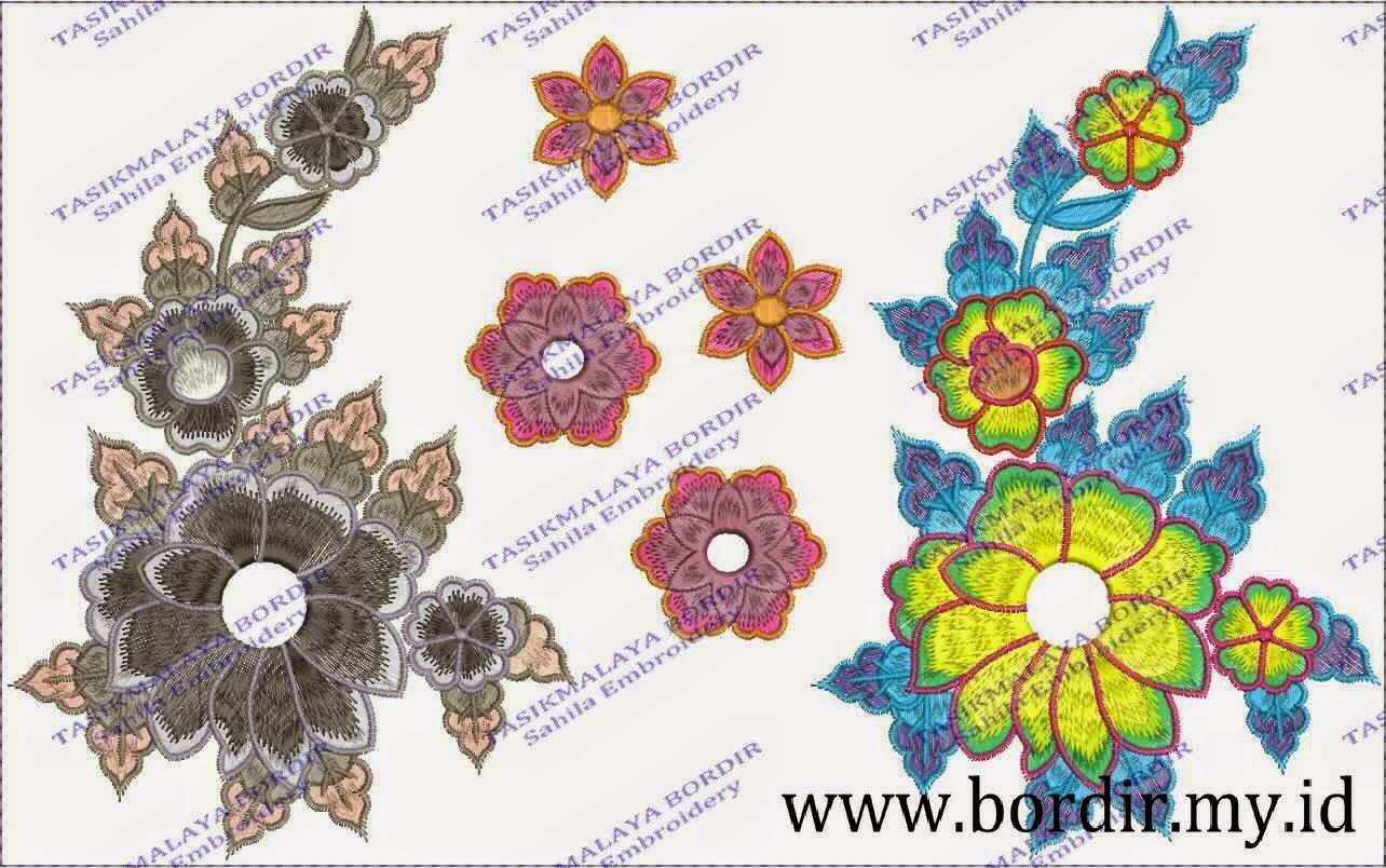 Contoh Motif Bunga Bordir