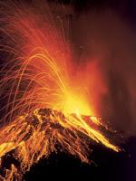 Night view of erupting arenal volcano costa rica