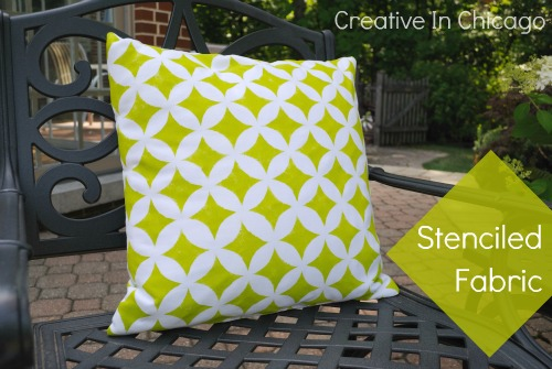 stencilled pillow