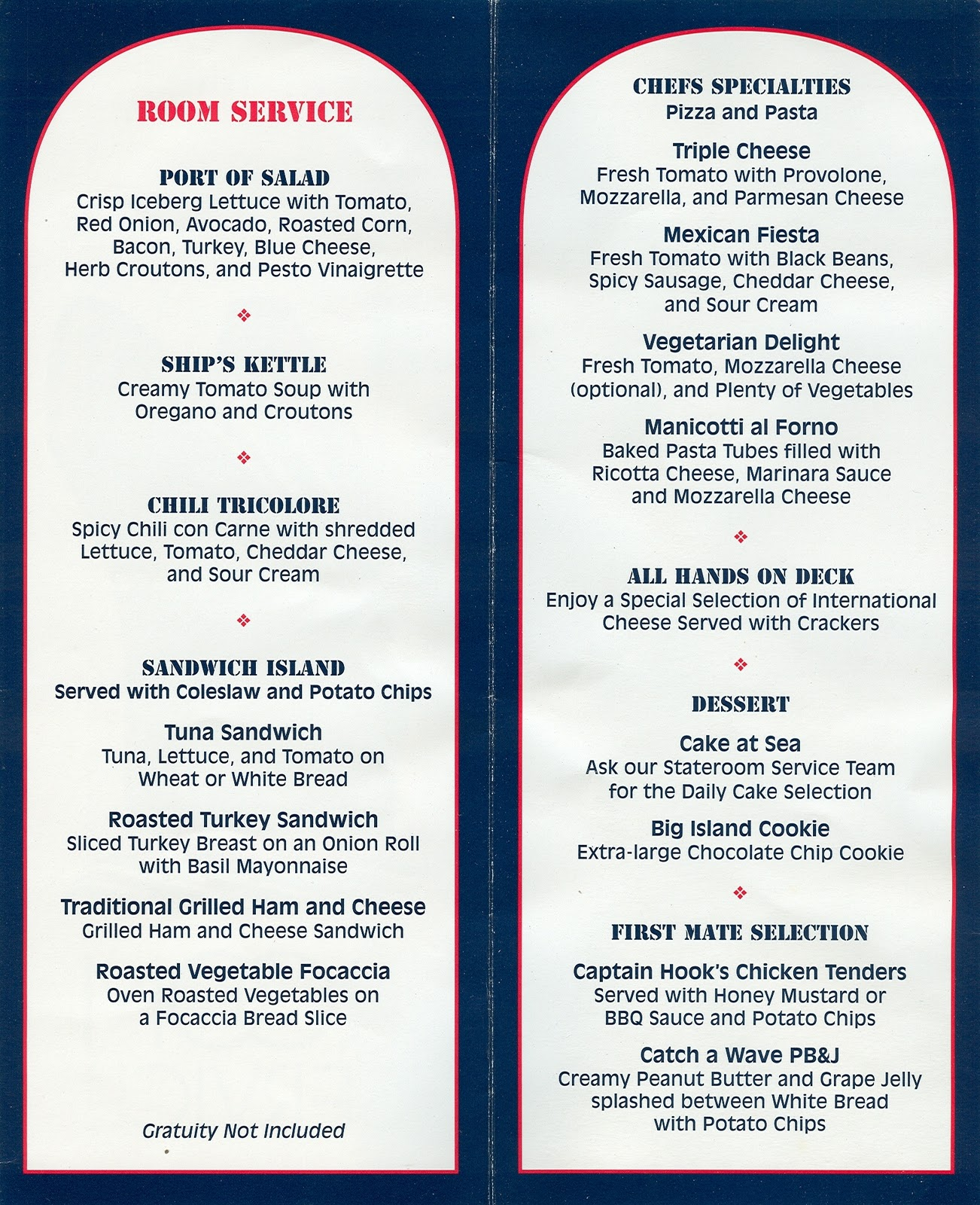 Disney Cruise Line Room Service Menu