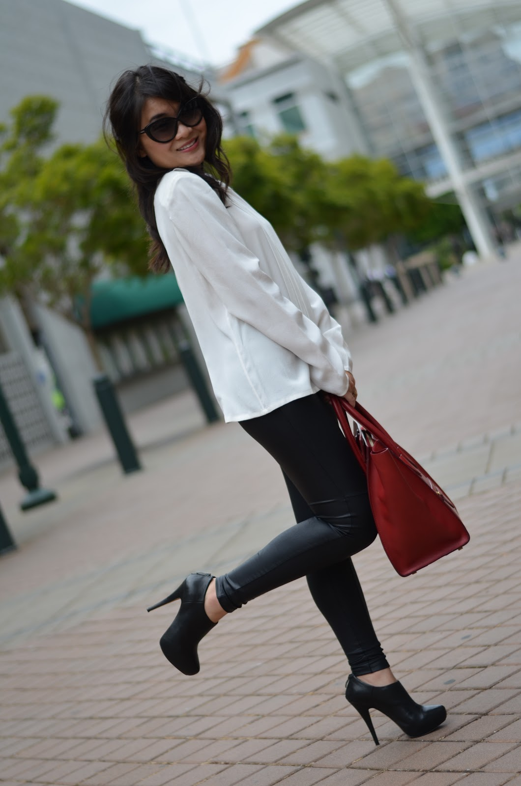 leith, leith white silk blouse, leith silk blouse, tom ford sunglasses, tom ford, tom ford madison, tom ford cat eye, hm, hm faux leather leggings, celine luggage tote, celine mini luggage tote, vince camuto jerrell, vince camuto black booties, black vince camuto, vince camuto