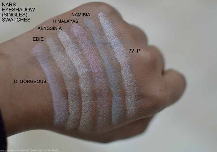 NARS D Gorgeous Edie Abyssinia Himalayas Namibia Eyeshadows Swatches Indian beauty Makeup blog
