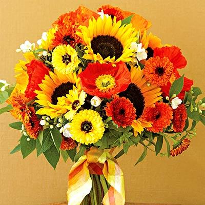 Orange Sunflower Wedding Bouquet