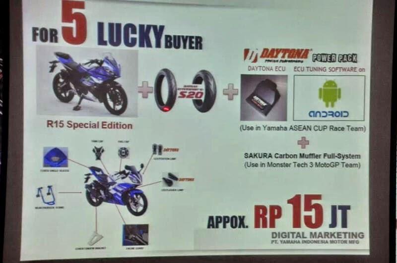 otoasia.net - Keunggulan 5 unit Yamaha R15 modifikasi (Special Edition) yang akan menjadi pemilik pembeli R15 yg beruntung, dengan nilai perubahan yang mencapai Rp 15 juta. Berikut deretan kelebihan tersebut: