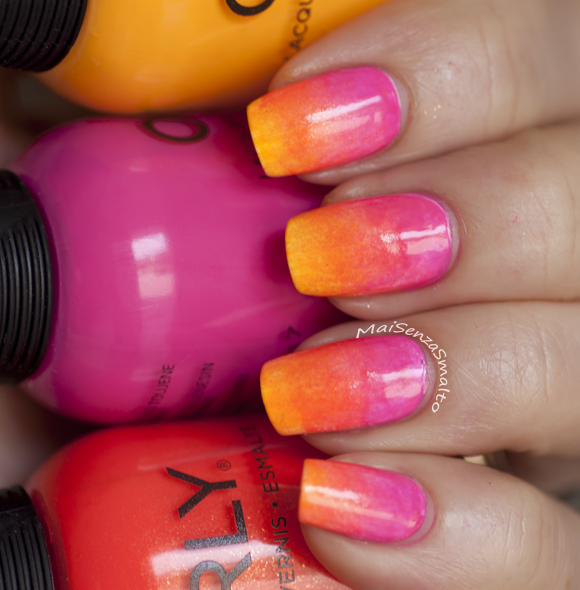Gradient manicure - Orly Tropical Pop, Ablaze, Neon Heat