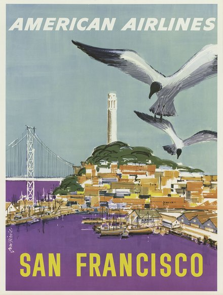 printables, classic posters, free download, graphic design, retro prints, travel, travel posters, vintage, vintage posters, San Francisco, American Airlines - Vintage Travel Poster