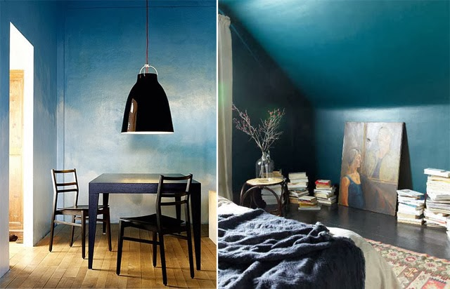 Mur peint degrade de bleu  / Déco tendance lovers of mint