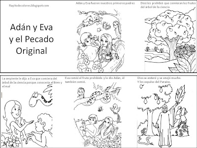 Adán y Eva y el pecado original para colorear