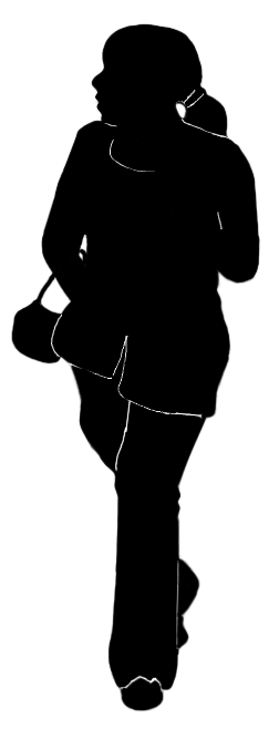 silhouette of african woman walking