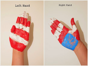 how to paint your hands for American Flag Handprint Art