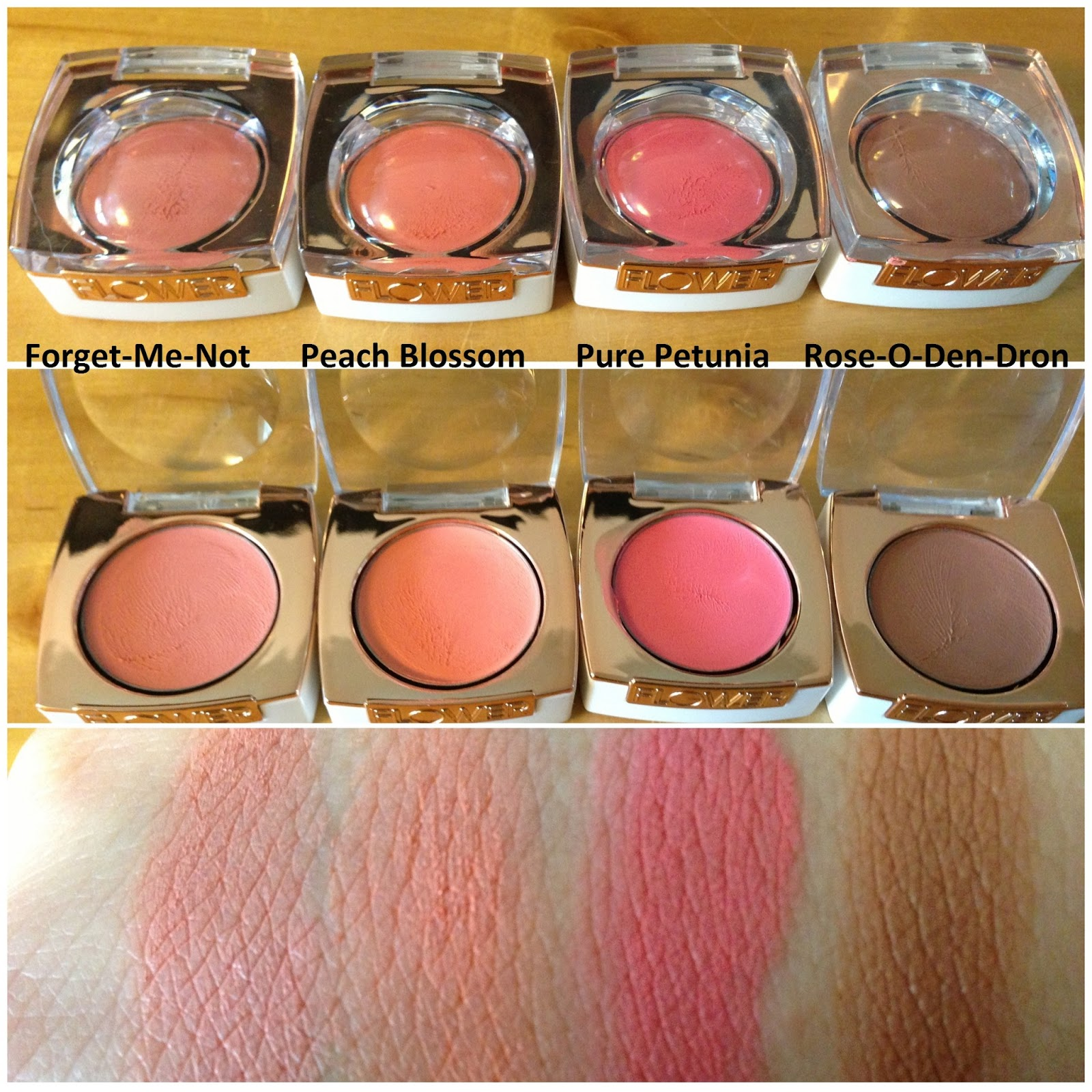 In the makeup mood flower cosmetics cheeks i picked up 4 creme blushes forget me not peach blossom pure petunia rose o den dron and one blush bronzer duo in gloriously golden izmirmasajfo