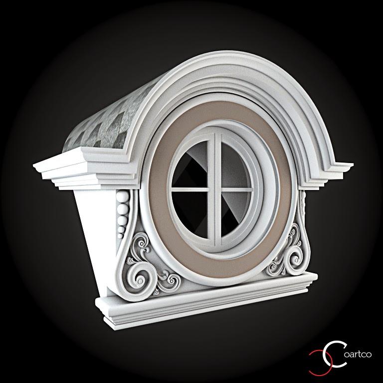 Ornameate Geamuri Rotunde Exterior, fatade case cu profile decorative polistiren, profile fatada,  Model Cod: WIN-094