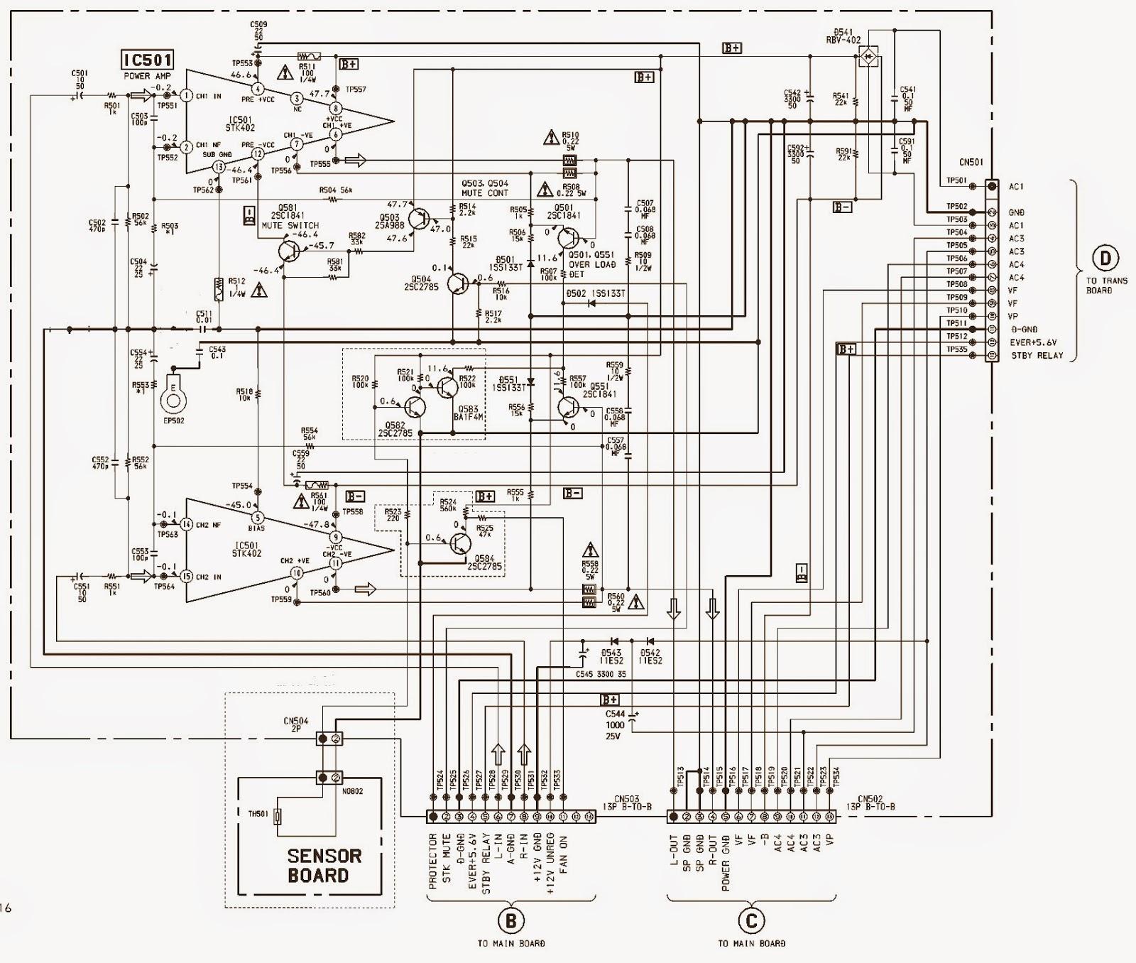 SONY MHC-DX3 – Brazil – POWER AMPLIFIER SCHEMATIC – STK - 402 ...