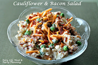 Easy Cauliflower & Bacon Salad - Easy Life Meal & Party Planning - A wonderful creamy salad filled with cauliflower, bacon, cucumber, cheese & a sprinkling of peas!