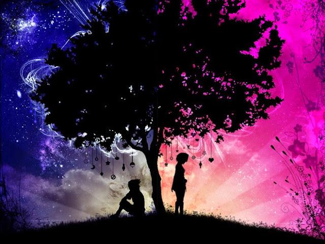 Imagen de un paisaje dibujado, la silueta de un árbol que separa la imagen en dos y de un lado la silueta de un chico sentado y del otro la silueta de una chica de pie.