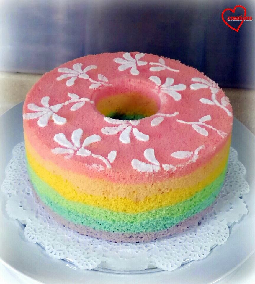 Pastel Rainbow Chiffon Cake with Semi-painted Flowers by Susanne Ng
