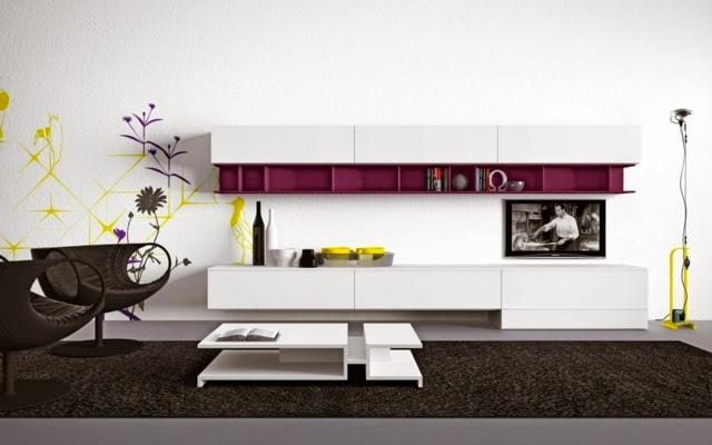 living room bookshelves designs closed bookshelves with purple accents