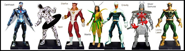 <b>Wave 6</b>: Darkhawk, Spot, Starfox, Mantis, Gravity, Silver Samurai and Living Laser