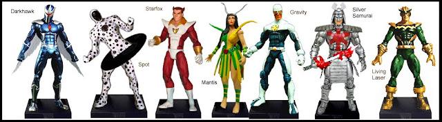<b>Wave 6</b>: Darkhawk, Spot, Starfox, Mantis, Gravity, Silver Samurai and Living Laser
