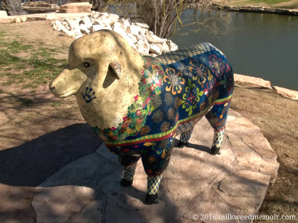 This colorful sheep statue stands along the Concho River Trail of San Angelo, Texas