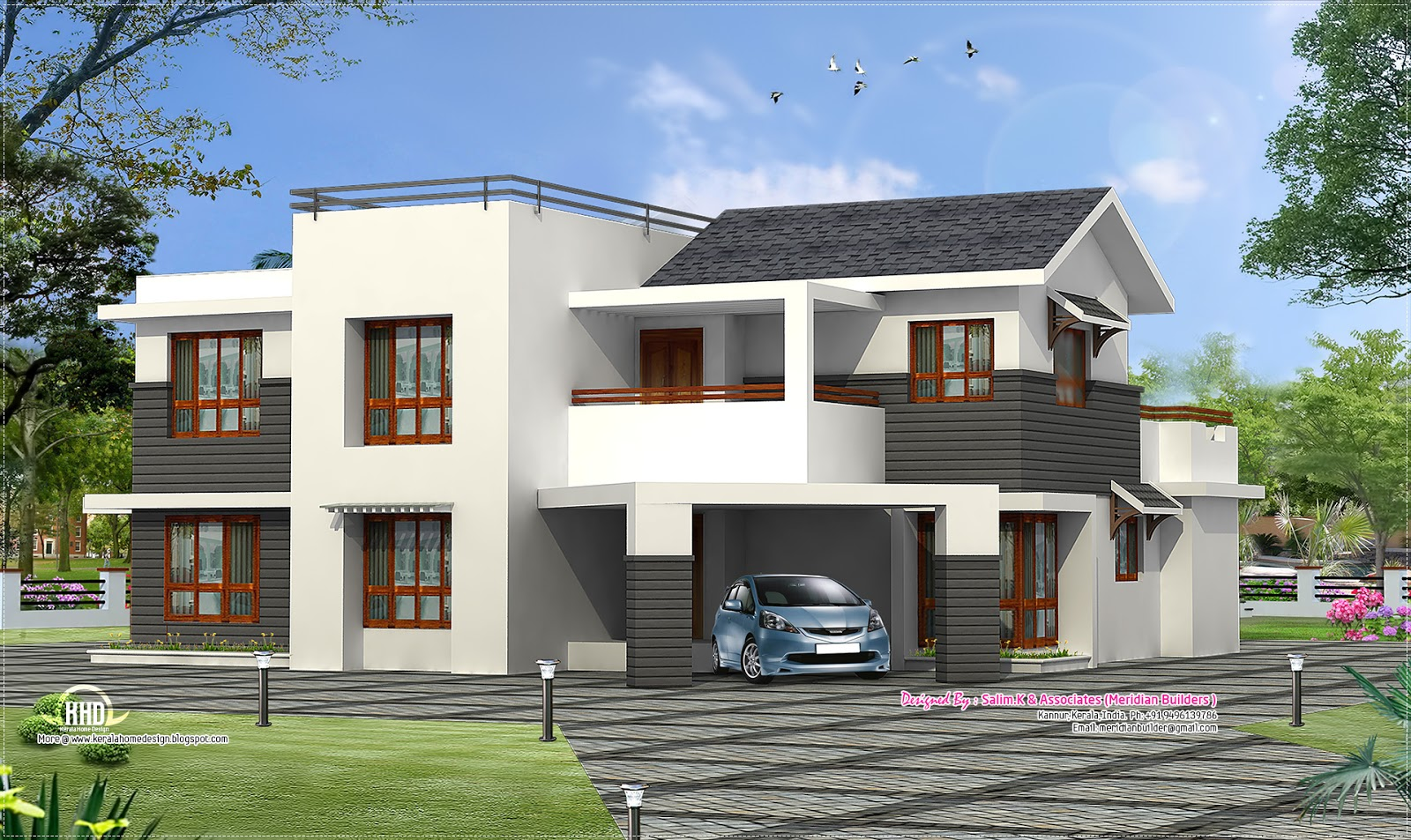 Contemporary villa design from kannur kerala home for Home design 3000 square feet
