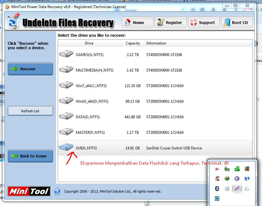 Memilih drive oleh Minitool Power Data Recovery 6.8