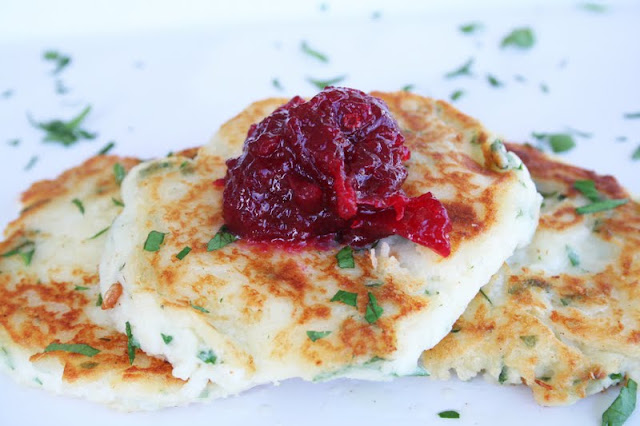Mashed Potato Cakes with Cranberry Chutney