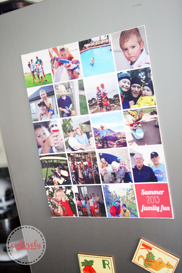 Display photos on your fridge without the clutter! Family memory collage tutorial, including a cute graphic. Perfect for Instagram pics! www.entirelyeventfulday.com #collage #family