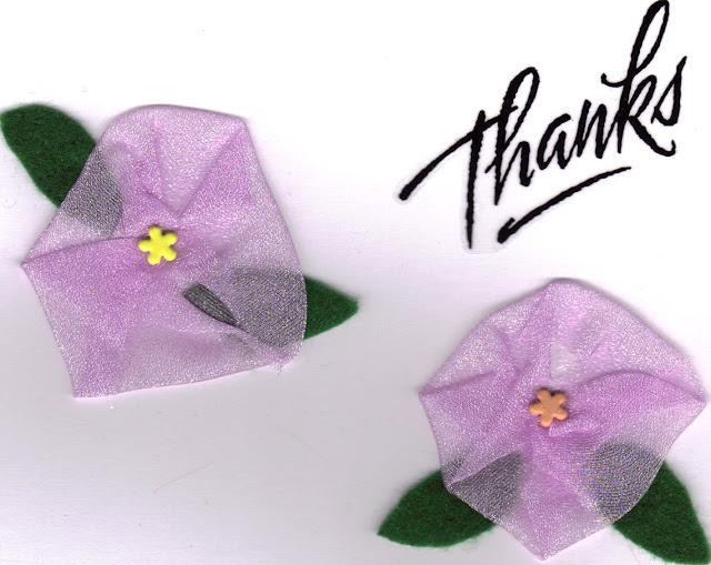 Fabric Flowers on Handmade Thank You Card