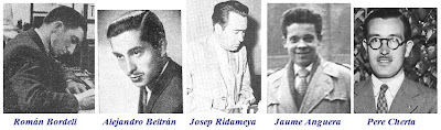 Los ajedrecistas Román Bordell, Alejandro Beltrán, Josep Ridameya, Jaume Anguera y Pere Cherta