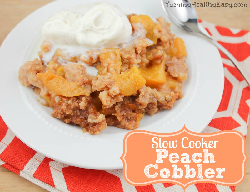 Slow Cooker Peach Cobbler Yummy Healthy Easy