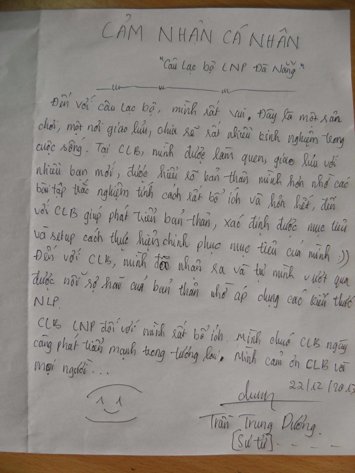 Trần Trung Dương viết cảm nhận chia sẻ khi tham gia CLB NLP Đà Nẵng