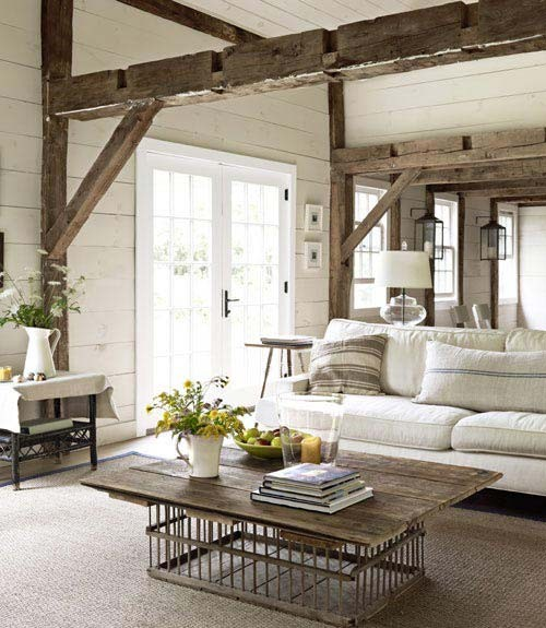 And lastly - how about this fantastic Rustic Chic family room with a tiny  bit of industrial thrown in to the mix. :-)