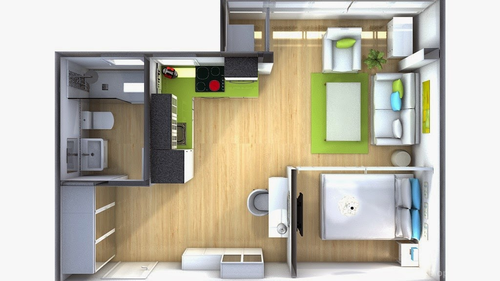 La maison 17 decoraci n interiorismo peque o apartamento for Decoracion monoambiente 30m2